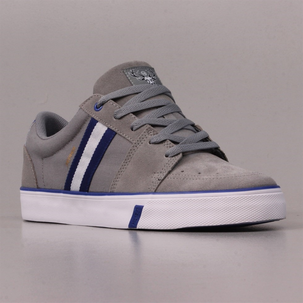 Huf Pepper Pro Skate Shoes in Ash Grey Royal Blue and White