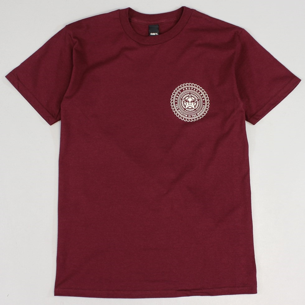 Obey The Medium is the Message T Shirt Ox Blood