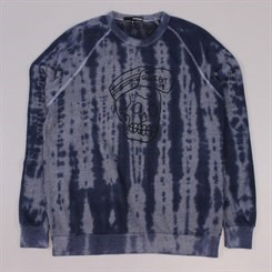 The Quiet Life Skull Cap Sweatshirt Tie Dye Blue Heather Grey