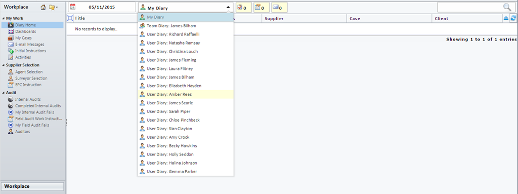 Diary Screen in CRM - viewing the list of Users within a Team and storing in the Session Cache