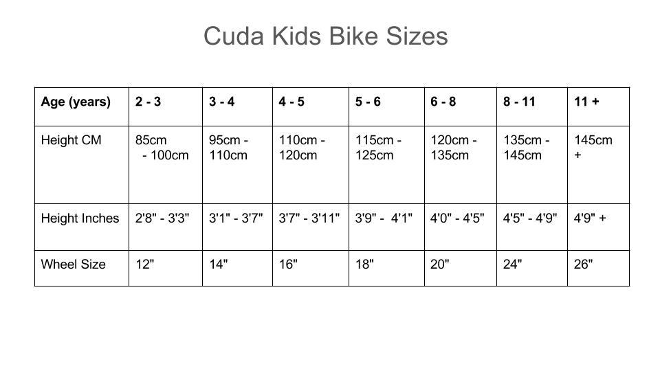 Cuda_Kids_Bike_Sizes