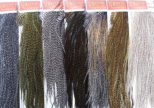 Angelsport-Fliegen-Bindematerialien Angelsport-Artikel Fly Tying Whiting Bronze Rooster Midge Saddle Grizzly dyed  Dark Olive #A