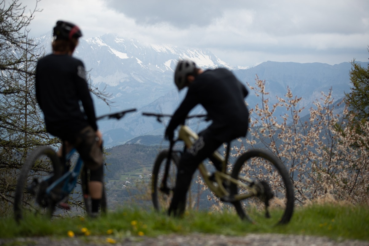 GUILLAMES, France - May 2019 during a Santa Cruz Bicycles Hightower photoshoot with Romain Paulhan & Jerome Caroli. Photo by Gary Perkin