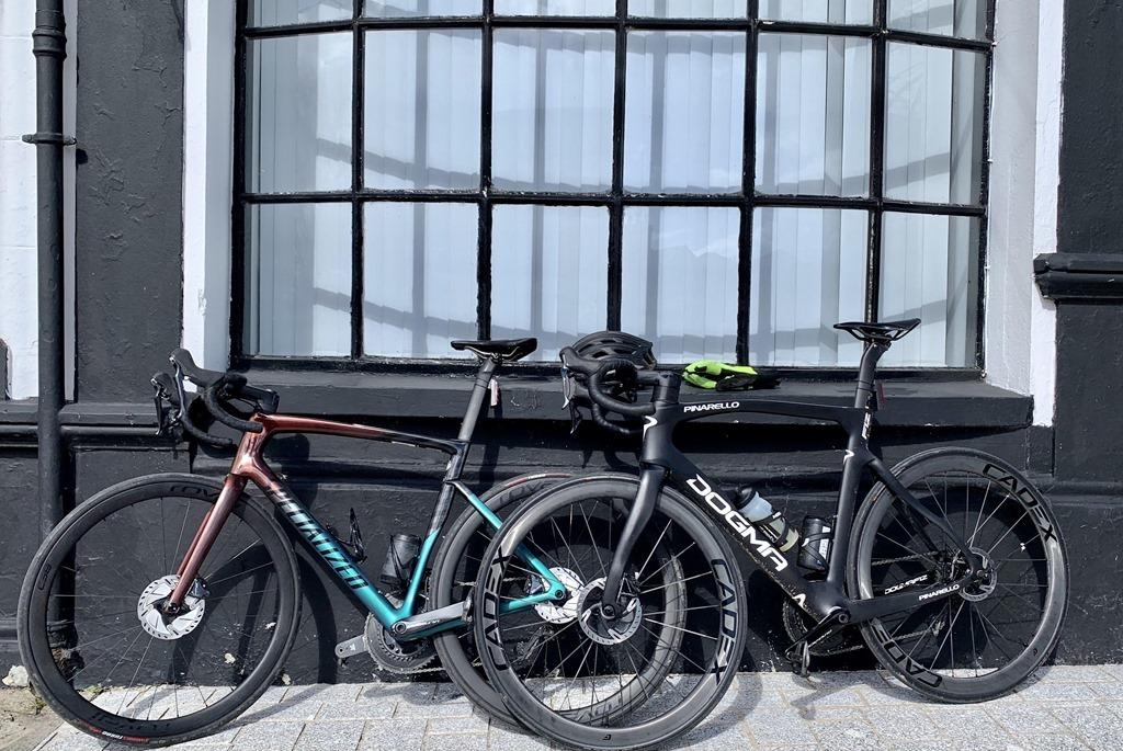 bikes at black window
