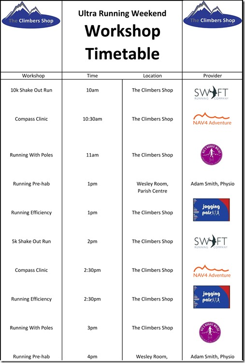 Ultra Running Weekend Workshops Timetable.xlsx