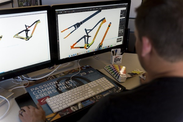 Niner Bikes Graphic Designer Nate Adams works on bike graphics.