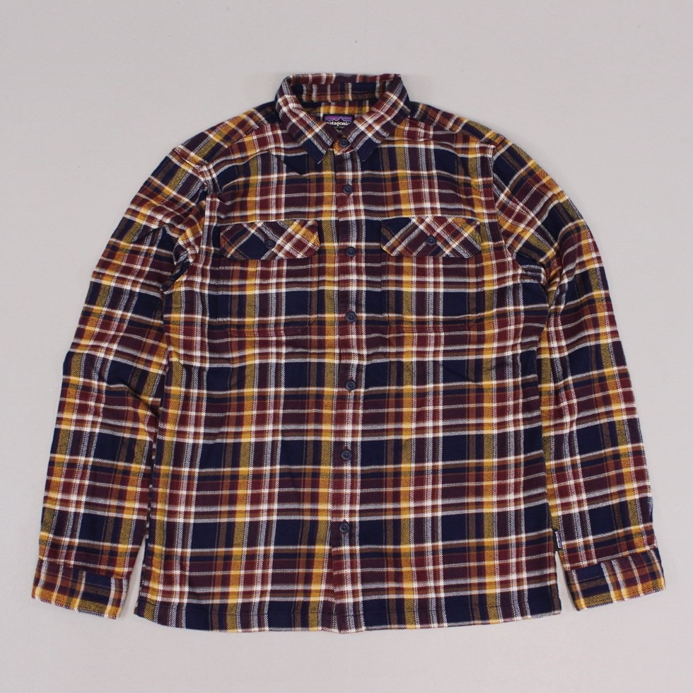 Patagonia Fjord Flannel Shirt Saucer Pass Classic Navy
