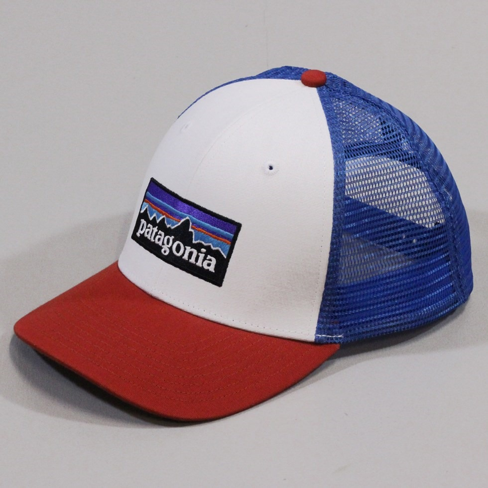 Patagonia Trucker Hat P-6 White Red Blue